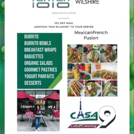 1010 Wilshire Announces an Exclusive Offer for Residents Who Dine at Casa9 Cafe and Catering