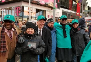 Drug-Free World volunteers on Times Square New York, where they promoted drug-free living