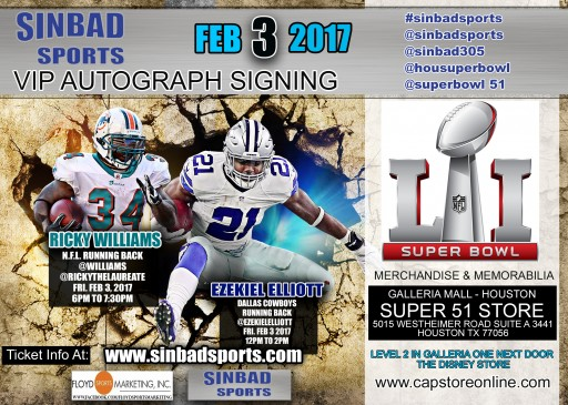 Ezekiel Elliott and Ricky Williams VIP Autograph Signing in Houston