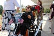 """Harley dude"" Timmy rides by for the Codington/101 Mobility parade."