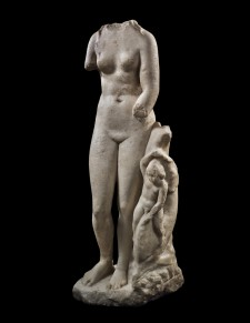 Roman Marble Statue of Aphrodite with an Eros riding a Dolphin