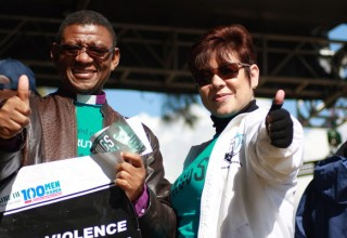 Exective Director Drug-Free World South Africa gives the march a thumbs up.