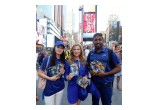 Youth delegates to the 13th annual International Human Rights Summit with their human rights educational materials at Times Square New York.
