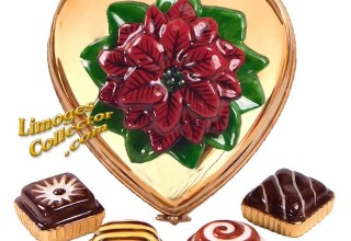 24K Gold Heart Chocolate Box with Poinsettia Limoges Box