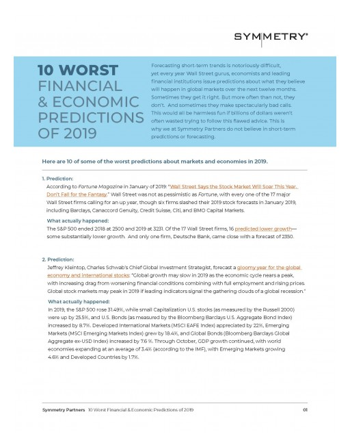 Symmetry Partners Releases 10 Worst Financial & Economic Predictions of 2019