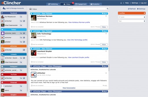 eClincher, a Social Media Management Startup Unveils A Unified Social Inbox