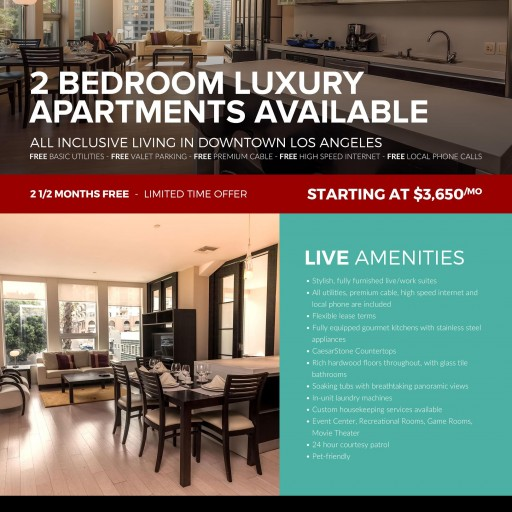 Live It Up Downtown: 2-Bedroom TENTEN Wilshire Apartments - First 2 ½ Months Free