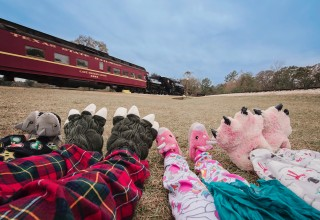 Pajamas and Slippers at Texas State Railroad's Polar Express