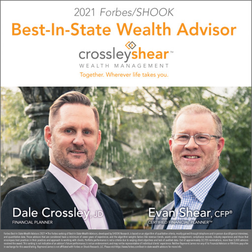 CrossleyShear Wealth Management's Evan Shear and Dale Crossley Named to Forbes' 2021 List of Top Wealth Advisors