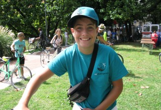 Young anti-drug volunteer and cyclist, ready for a day of fun while he promotes drug-free living