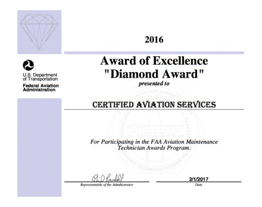 CAS Receives FAA AMT Diamond Award of Excellence