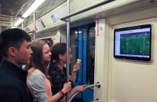Video screen in a metro train