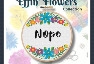 """""""Nope"""" Funny Cross Stitch in Colorful Floral Wreath"""