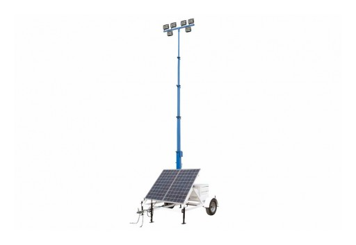 Larson Electronics Releases 300W Solar LED Light Tower, 7.5-Foot Trailer, 30-Foot Tower, Backup LPG Generator