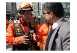 Héctor Méndez, Los Topos founder and president, supervised the disaster response drill at the National Scientology Organization of Mexico.