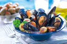 Steamed Mussels with Stuffed Chalkidiki Olives