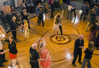 The Church of Scientology hosts monthly swing dancing for charity at the Fort Harrison ballroom.