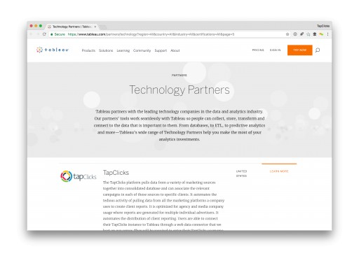 TapClicks Launches New Technology Partnership With Tableau Software