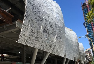 The Transbay Transit Center's Intricate awning is supported by a space frame system