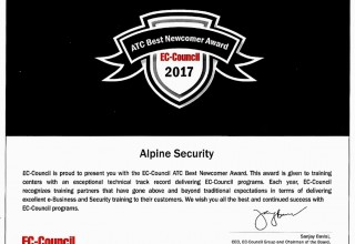 Alpine Security - 2017 Newcomer Training Center of the Year