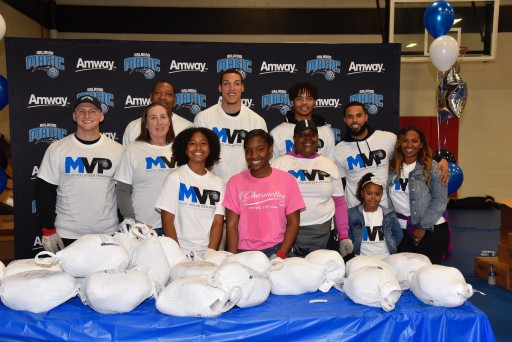 Orlando Magic Players Aaron Gordon, D.J. Augustin and Markelle Fultz Joined Amway Corporation in Magic's Annual Thanksgiving Meal Distribution