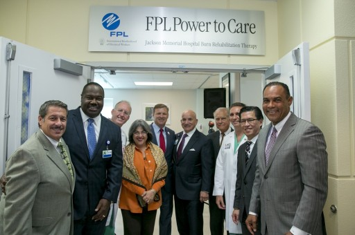 Patients Return to University of Miami/Jackson Memorial Burn Center to Help Unveil Florida Power & Light Company-Sponsored Renovated Rehabilitation Therapy Unit