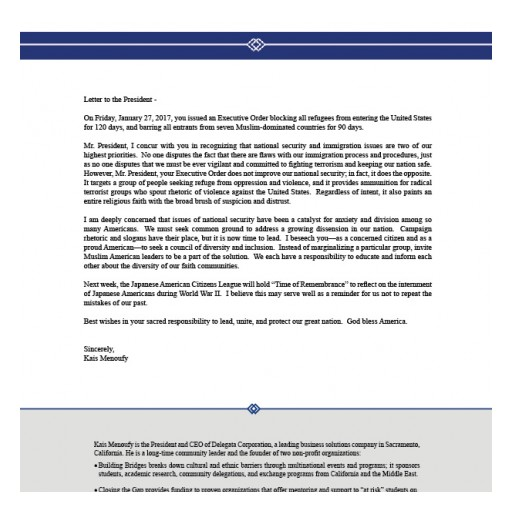 Letter to the President from Mr. Kais Menoufy