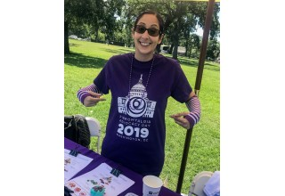 Melissa Talwar, Executive Director of Support Fibro, gets psyched for Advocacy Day.
