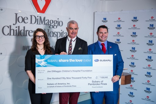 Craig Zinn Hosts 5th Annual Subaru of Pembroke Pines  Share the Love Event and Presents a $159,045 Donation to Joe DiMaggio Children's Hospital in  Support of the Hospital's Expansion