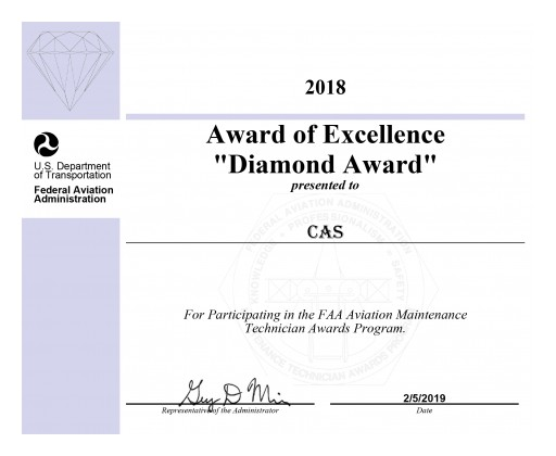 CAS Earns Third Consecutive FAA Diamond Award of Excellence