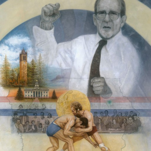 Achievements of Olympic Gold Medal Wrestler Dan Gable Depicted in 'The Art of the Fight' Limited Edition Work by Renowned Artist Mike Kupka