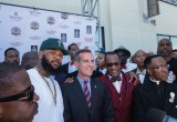 The Game, Mayor Eric Garcetti and Nation of Islam Minister Tony Muhammad stand united in peace at the press conference at the peace summit July 21