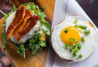 Special Brinner Burger at Peaches Smokehouse and Southern Kitchen