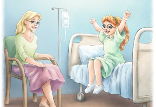 "Illustration of Judy sitting on her hospital bed, ""Warriors Eat Alphabet Soup"" by Meredith Villano, illustrated by Nataly Vits"