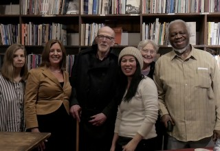 David Ferry at the Grolier, February 2018, with Grolier staff