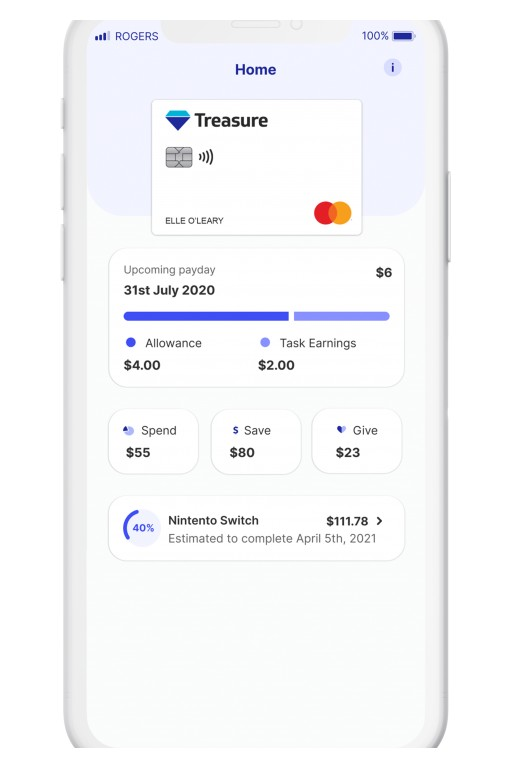 Educational Money App Treasure Card Launches to Teach Kids Smart Habits Around Spending, Saving and Donating With Money From the Bank of Mom and Dad