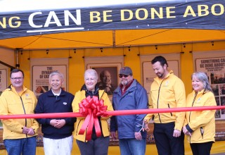 Opening the bright yellow pavilion