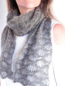 Rain Storm Beaded Lace Scarf