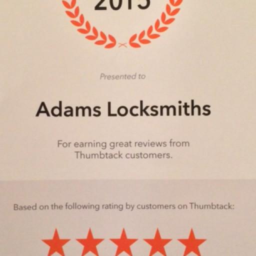 Adams Locksmiths Awarded Thumbtack's 2015 Best Locksmith Company in South Florida