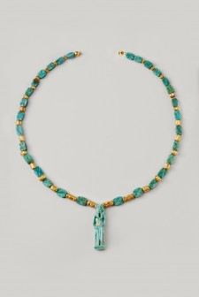 Ancient Egyptian Faience and Glass Necklace with the Goddess Sekhmet