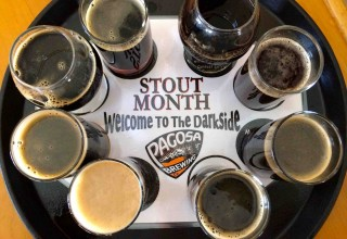 Flight of beers at Pagosa Brewing Company