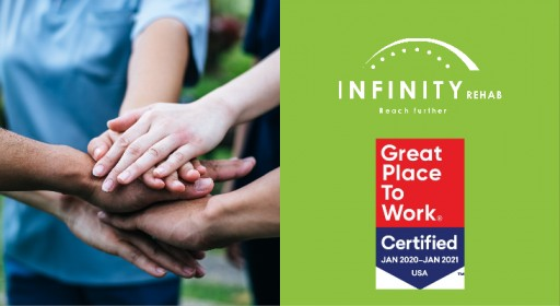 Infinity Rehab Named Great Place to Work for Second Year