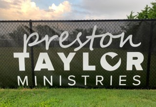 Custom Logo Screen and Chain Link Fence Donated to Preston Taylor Ministries