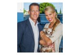 James Denton and Beth Stern with Harley during the 2015 American Humane Association Hero Dog Awards.