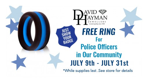 Following Robbery Attempt, David Hayman Jewellers Pays Tribute to Local Police Officers With Free Silicone Band