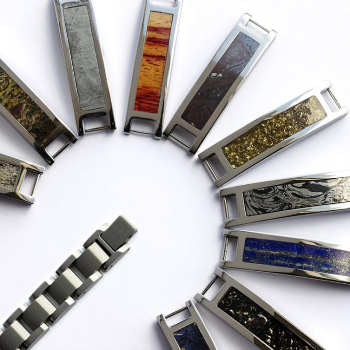 Interchangeable Bracelets with Unique Material Components