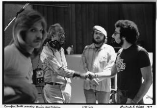 David Lee Watson, Professor Longhair, Dr. John, and Bruce Iglauer at Sea-Saint Recording Studio, New Orleans, 1979.