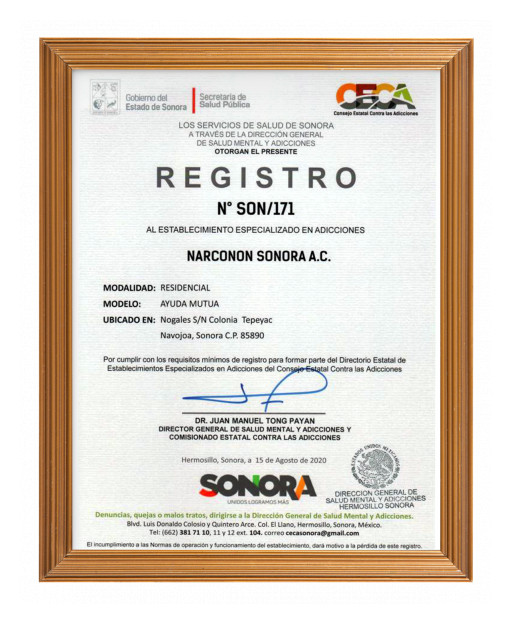 Narconon Navojoa Receives Recognition by the Sonoran State Government