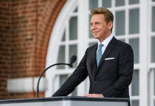 Mr. David Miscavige delivers his dedication address to an expansive crowd gathered at the festive grand opening ceremony, held Saturday, October 21, in Birmingham.