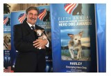 "Harley with his ""dad"" Dan Taylor during the 2015 American Humane Association Hero Dog Awards."